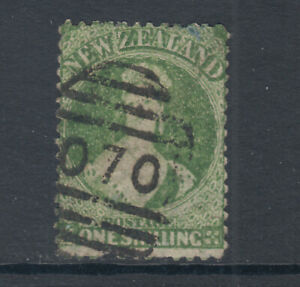 New-Zealand-Sc-37a-SG-124-used-1864-72-1sh-green-QV-pulled-perf-Cert