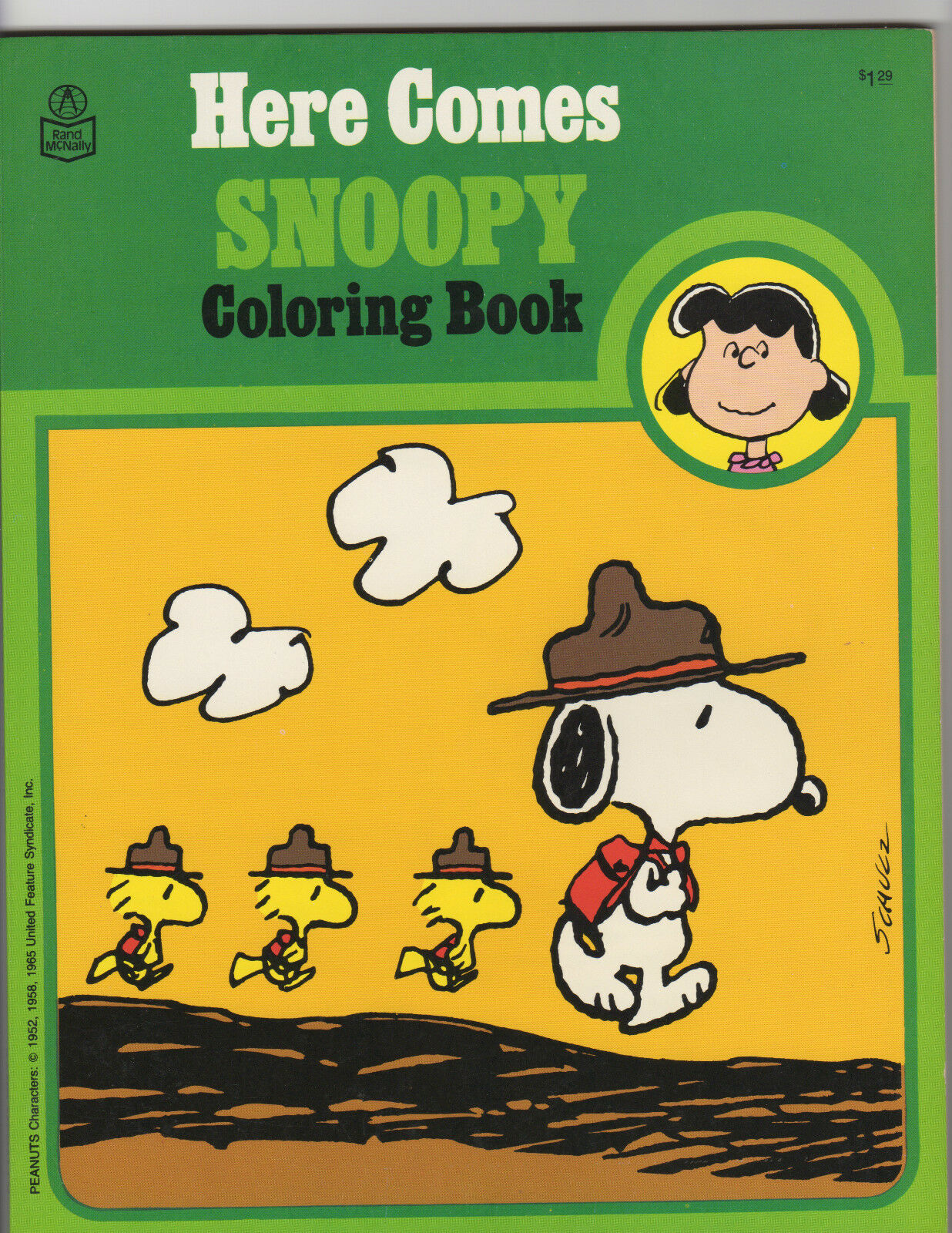 HERE COMES SNOOPY  COLORING BOOK BOOK BOOK  1980 UNUSED  PEANUTS GANG  RAND MCNALLY 08dab5