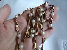 UNUSUAL TWISTED GOLD TONE LINKS WITH FAUX IMITATION PEARL SPACERS MULTICOLOURED