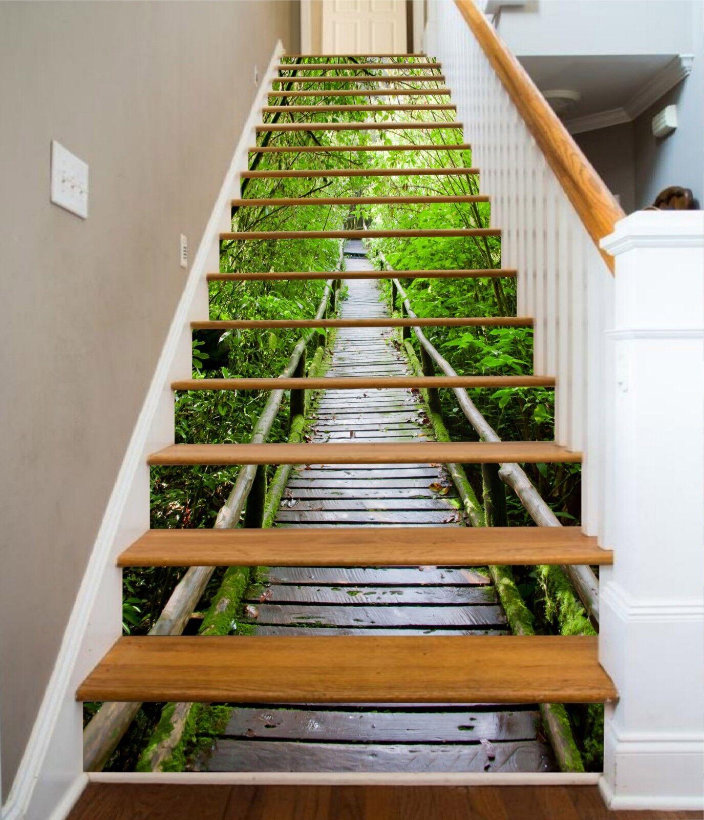 3D Bridge Tree 36 Stair Risers Decoration Photo Mural Vinyl Decal Wallpaper US