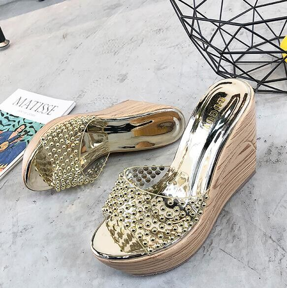 8d7ef6cecd8 Sandalias elegantes zuecos cuña zapatillas 9 oro cómodo como piel colorido  9821