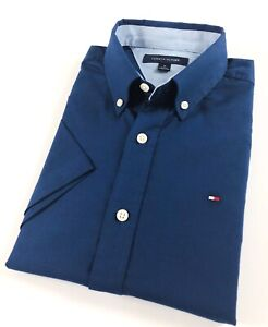 Tommy-Hilfiger-Chemise-Homme-a-Manches-Courtes-Bleu-Marine-Brosse-OXFORD-Classic-Fit