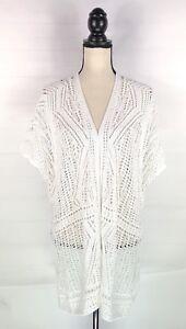 New-J-Jill-Womens-Cardigan-Sweater-Sz-M-L-White-Crochet-Knit-Cotton-Blend-Open