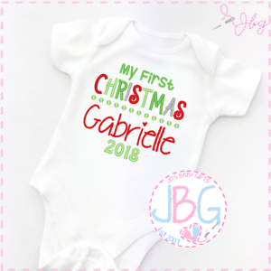 b72a3281a Personalised Embroiderd First Christmas Baby Vest Bodysuit - 2018 ...