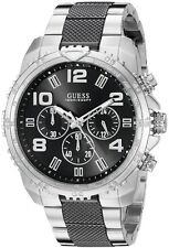 GUESS Men's Chronograph Black & Silver  Stainless Steel Bracelet Watch U0598G3