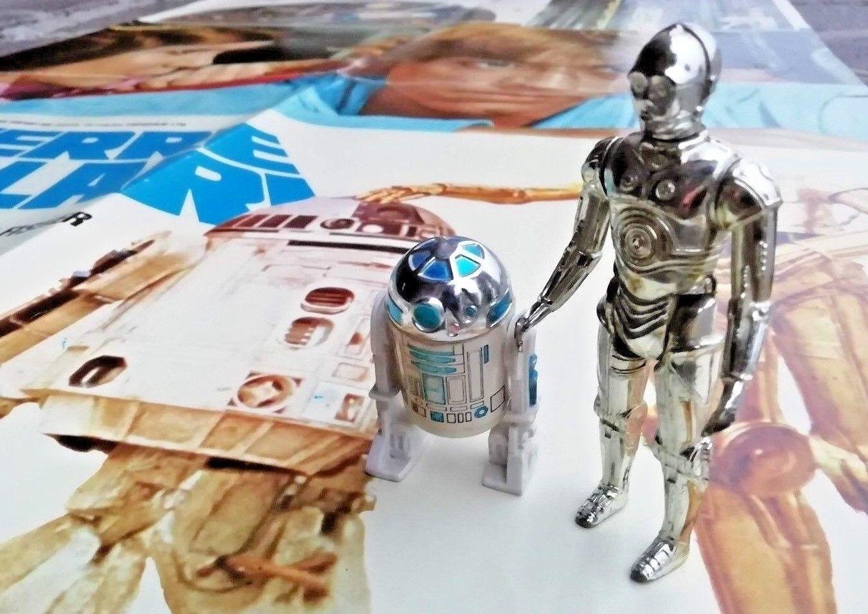 ACTION FIGURE GUERRE STELLARI originali vintage 1977 STAR WARS C3-PO R2-D2 LUCAS