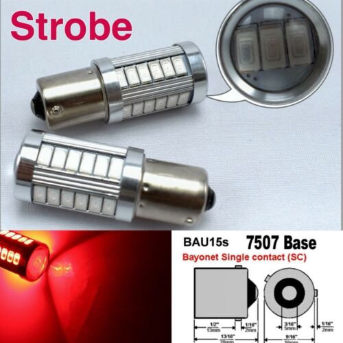 Strobe 7507 BAU15S PY21W 33 LED Projector Red Bulb Front Signal B1 BAU