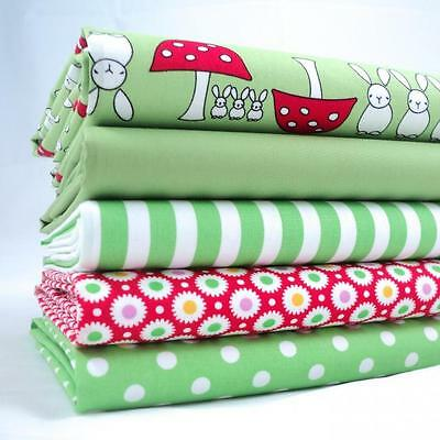FQ BUNDLES - LIME GREEN MUSHROOMS AND RABBITS 100% COTTON FABRIC BUNTING