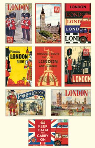 Cavallini /& Co London Vintage Cartes Postales-Assortiment de 18 cartes-Rétro