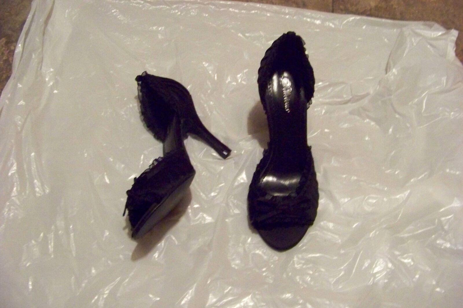 womens delicious black fabric open 6 toe heels shzoe size 6 open 1/2 745021