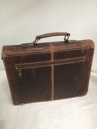 """Aaron Leather 16/"""" Leather Briefcase Messenger Bag for Laptop"""