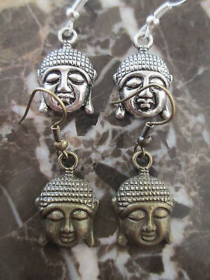 2 Beautiful Pairs Silver & Bronze Buddha Artisan Handcrafted Earrings-Yoga Ohm