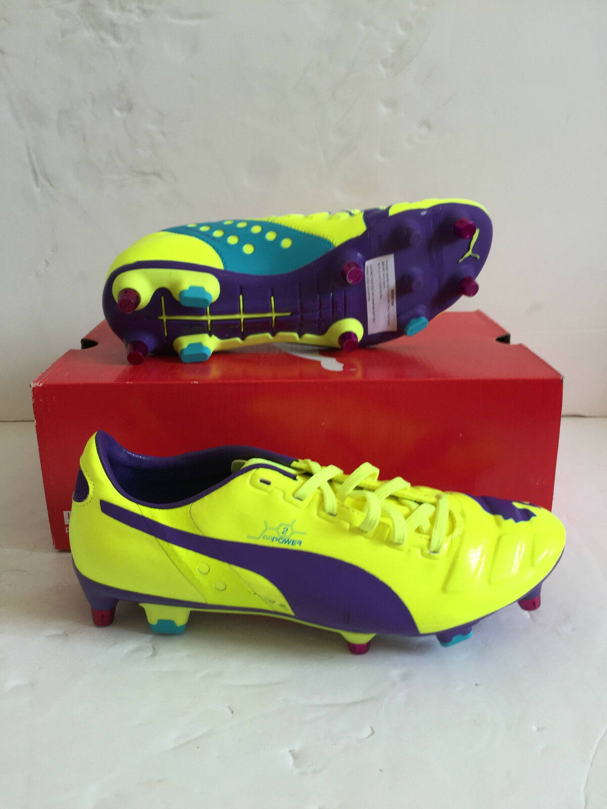 Puma Mens evoPOWER 2 Mixed SG Football Boots - Yellow purple - BNIB