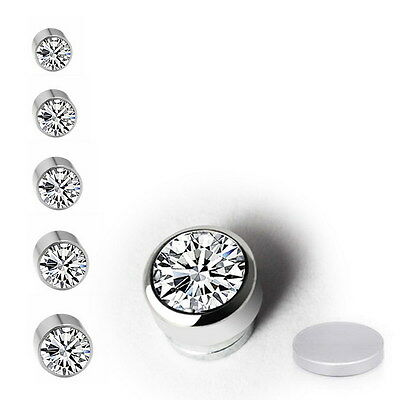 Shiny Magnetic Crystal Fake Stud Earrings, Clip On Non Piercing Earring,5 Sizes