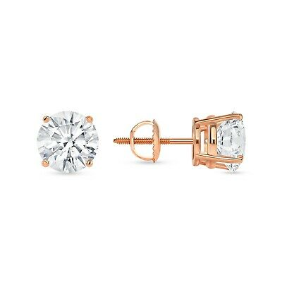 3.50 Ct Round Cut Pink Earrings Studs Real 14K Rose Gold Screwback Basket