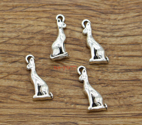 30 Sitting Dog Charms Animal Dog Lover Charm Finding Antique Silver 8x21 2052