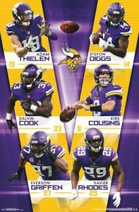 9bcc3359 Minnesota Vikings 6-STARS NFL Action POSTER - Thielen, Stefon Diggs ...