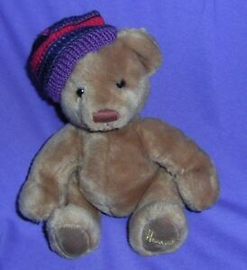 VERY-CUTE-034-HARRODS-034-TEDDY-BEAR-WITH-STRIPPED-HAT-B71-30