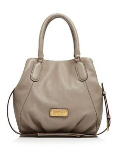 NWT-MARC-by-MARC-JACOBS-New-Q-FRAN-Leather-Shoulder-Bag-CEMENT-Gray-AUTHENTIC