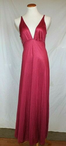 Vintage 1970s Nightgown Small Maroon Burgundy Nylo
