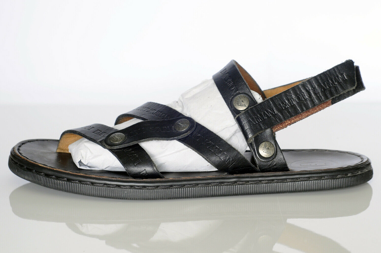 Emporio Armani Men's Black Leather Sandals Sz 10 - image 6