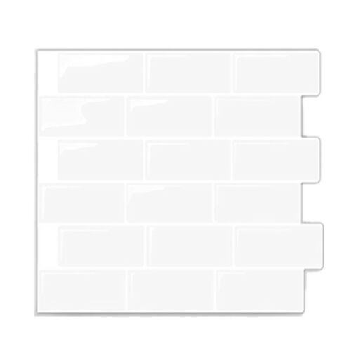 3D Self Adhesive Subway White Tile Wall Sticker Kitchen Bathroom Home Decor