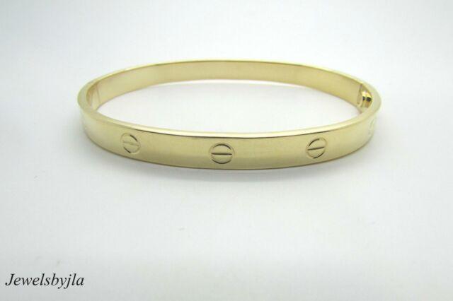 70a9b63cf 14K Yellow Gold Men's Oval Shape Cuff Bracelet w/ Screws 11 grams Made In  Italy