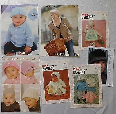 7 knitting pattern leaflets Wendy Fusion Robin Sirdar womens babies hats clothes