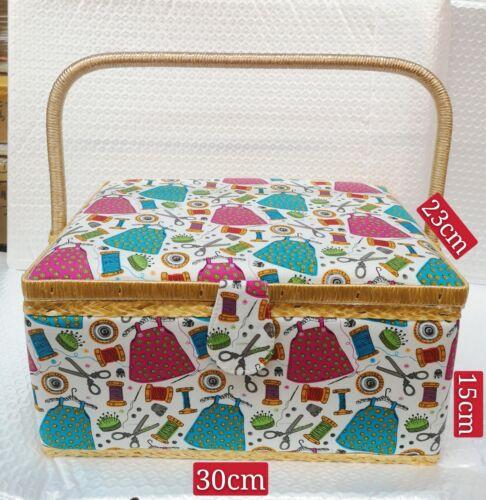 Cesta De Madera Caja de costura con patrón de costura Accesorios Kit De Herramientas Caja de almacenamiento