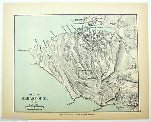 Vintage Map of the Siege of Sebastopol 1854-5 by Longmans Green 1902