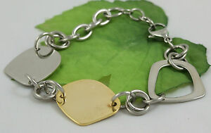 Gatik-AB1722-Ladies-2-Colour-316L-Stainless-Steel-Abstract-Shaped-Link-Bracelet