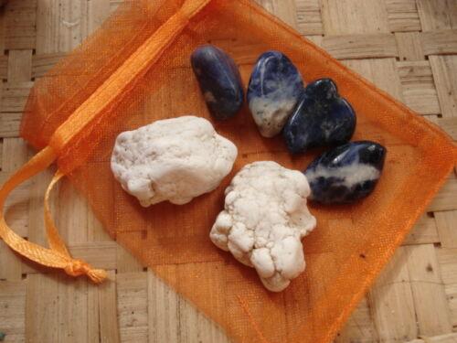 """61-Pochette/""""Perte de poids2/"""" Sodalite-Magnésite-soin par les cristaux-Reiki"""