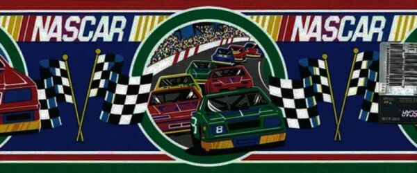 Nascar Checkered Flag Prepasted Wall Border Roll: NASCAR Racing Wallpaper Border Cars Checkered Flag Red