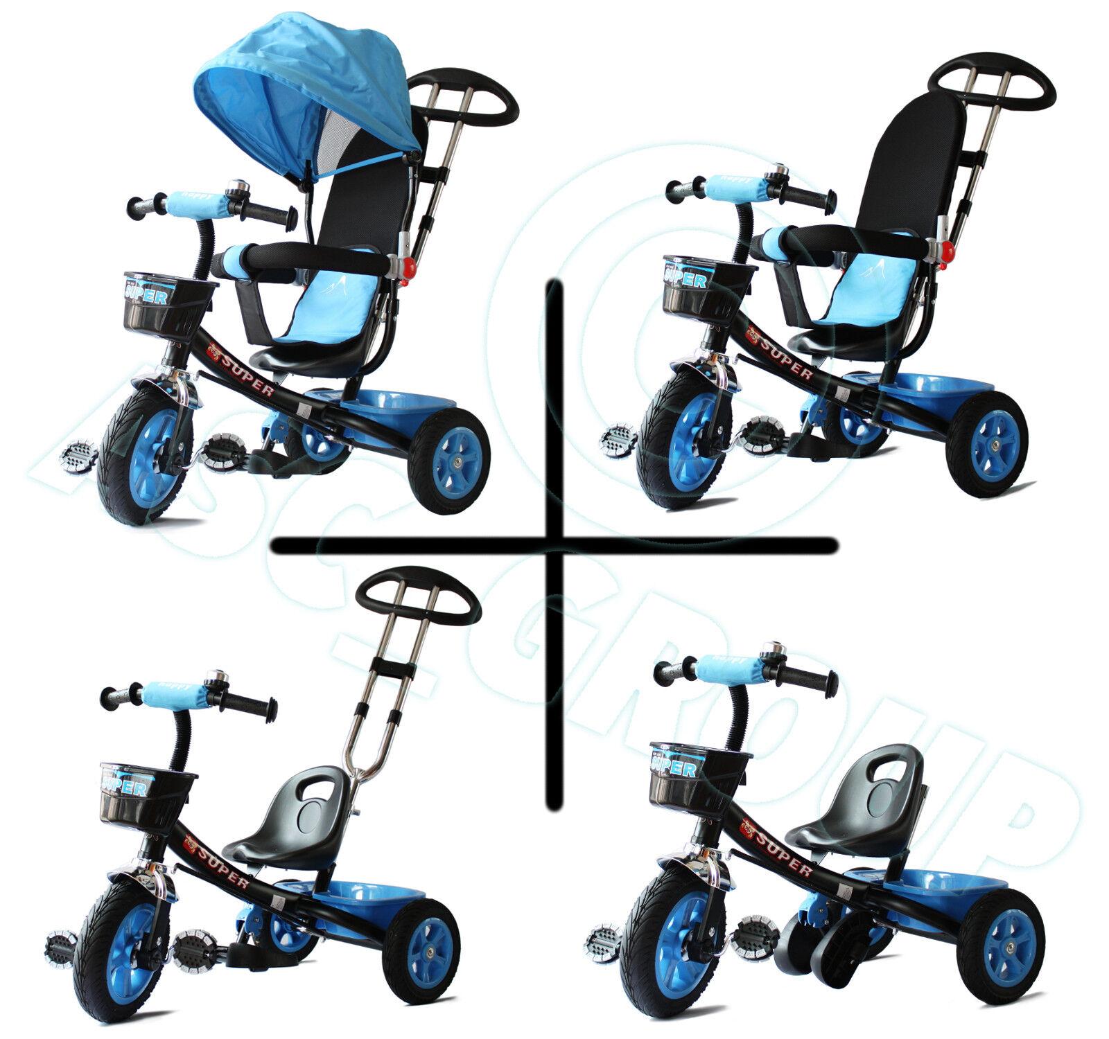 Kinder 4 in 1 Trike - Blau & Schwarz - Vorantreiben Pedale Dreirad Ce Konform