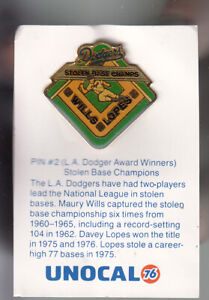 VINTAGE-L-A-DODGERS-UNOCAL-PIN-UNUSED-STOLEN-BASE-CHAMPIONS