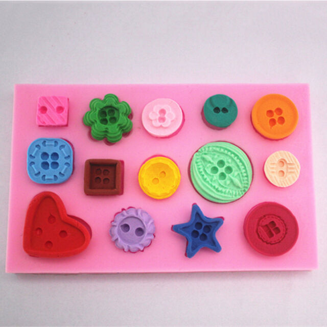 Cute Buttons Flower Silicone Fondant Cake Decorating Baking Mold Sugarcraft DIY