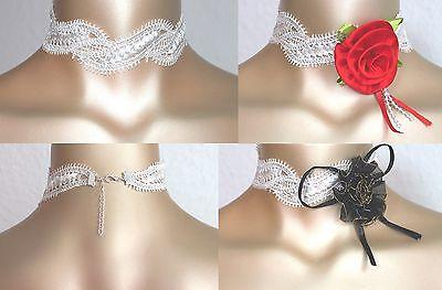 Halsband Kropfband Choker zur Hochzeit Spitze zartcrem versch. Designs Blume Neu