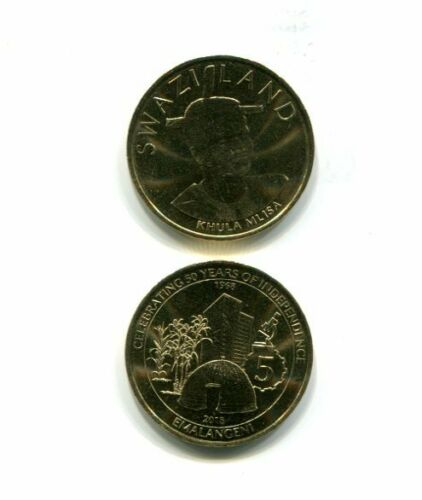 SWAZILAND 5 EMALANGENI 2018 UNC COIN COMMEMORATIVE 50//50 YEARS