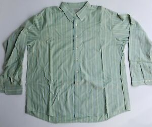 LL-Bean-Mens-Button-Down-Long-Sleeve-Green-Blue-Striped-Shirt-2XL-XXL
