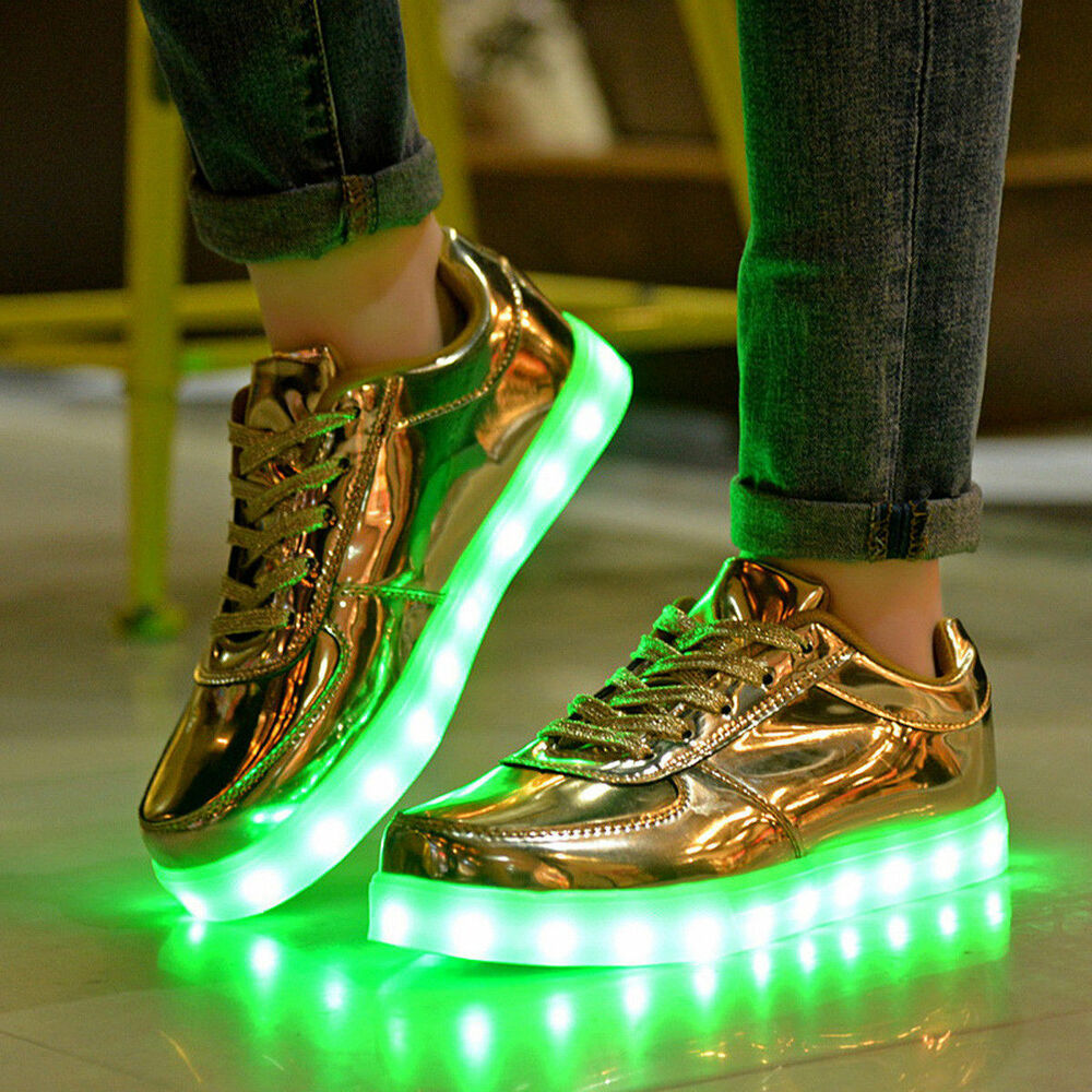 Del Usb Light Up Unisexe Chaussures Baskets Sneakers-or Uk3