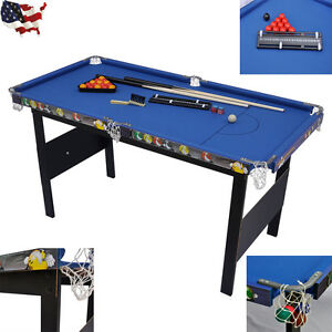 Indoor Games Kids Children Folding Snooker Pool Table Deluxe Billiard Blue New