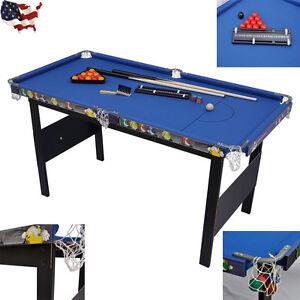 Indoor Games Kids Children Folding Snooker Pool Table Deluxe Billiard Blue New