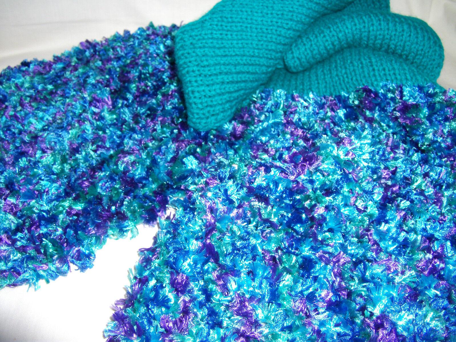 Hand-knitted Scarf & Fingerless Gloves Ref 937