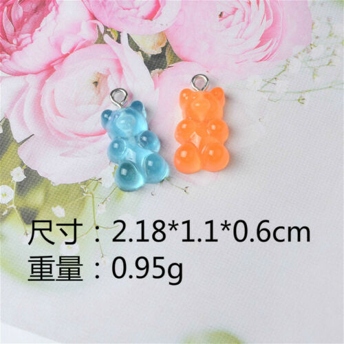 50 Lot Candy Bear Charms Gummy Pendants Assorted Findings Cute Jewelry Supplies