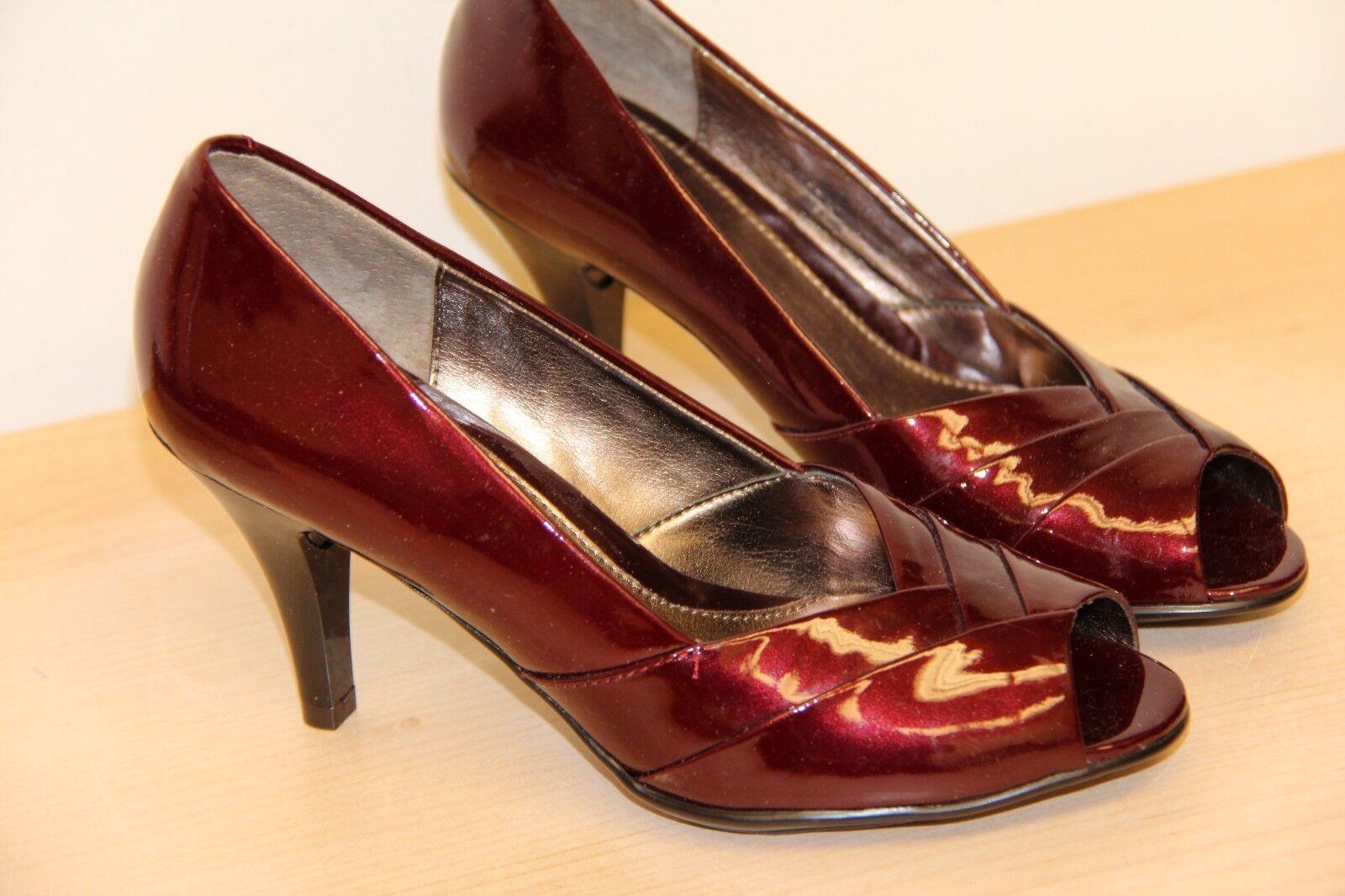 NIB Sofft Galilee Peep Toe Pumps Heels Sz 6.5 M  Bordeaux Pearl Patent