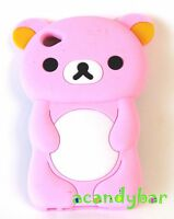 Ipod Touch 4 4th Gen Pink Teddy Bear Silicone Rubber Gummy Soft Skin Cover Case