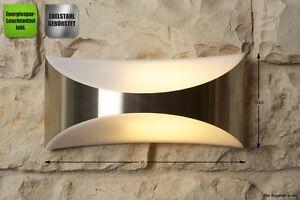 Applique Esterno Moderno : Lampada da esterno metallo spazzolato applique da giardino