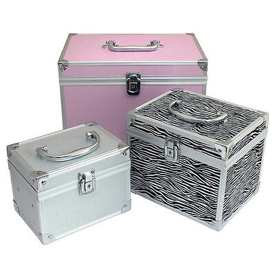 LOCKABLE ALUMINIUM MAKE UP VANITY BEAUTY CASE COSMETIC BOX NAIL SALON BAG D1