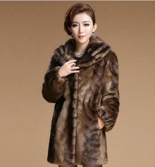 Hot Women's Whole fur Hooded Slim Fit Warm Long Coat Outwear Overcoat Park