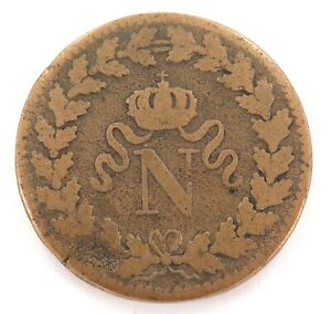 1815-FRANCE-FRENCH-UN-DECIME-BB-STRASBOURG-MINT-NAPOLEON-1